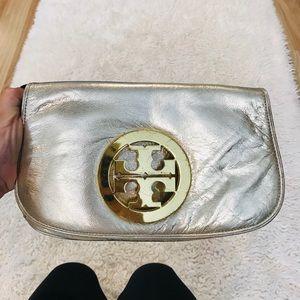 Tory Burch gold metallic fold over clutch